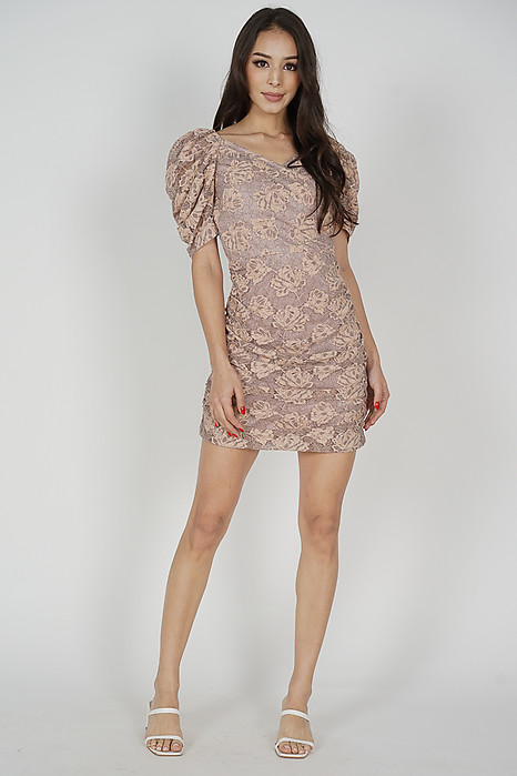 Fawna Lace Dress in Nude Grey