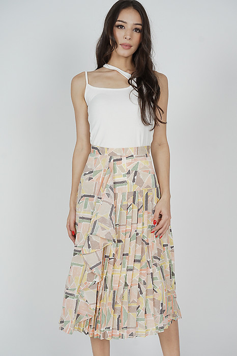Olwen Ruffled Pleated Skirt in Multi Abstract - Arriving Soon