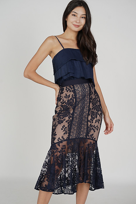 Onelle Lace Skirt in Midnight - Arriving Soon