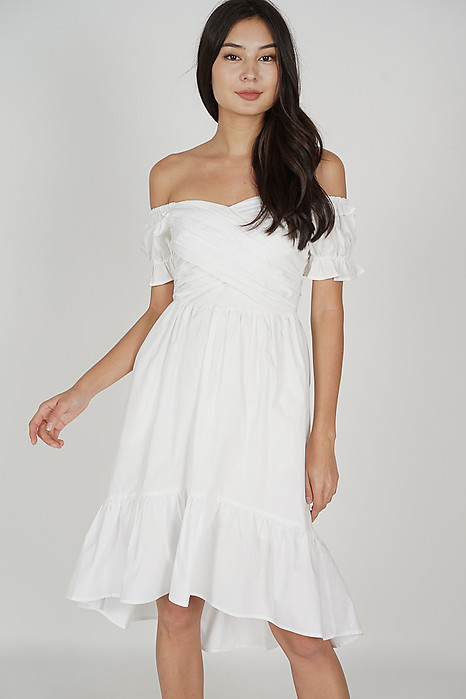 Odena Ruched Dress in White - Arriving Soon