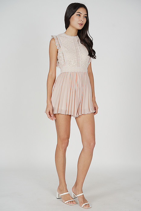 Sarieh Lace Romper in Pink - Arriving Soon