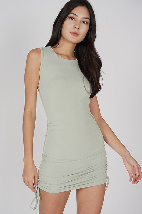 Ellie Ruched Dress in Sage - Online Exclusive