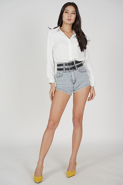 Lucie Side Gathered Top in White - Online Exclusive