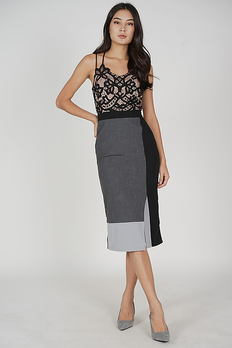 Gaiden Color-Block Skirt in Grey - Arriving Soon