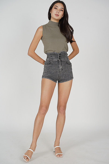 Elen High Waist Shorts in Black - Online Exclusive