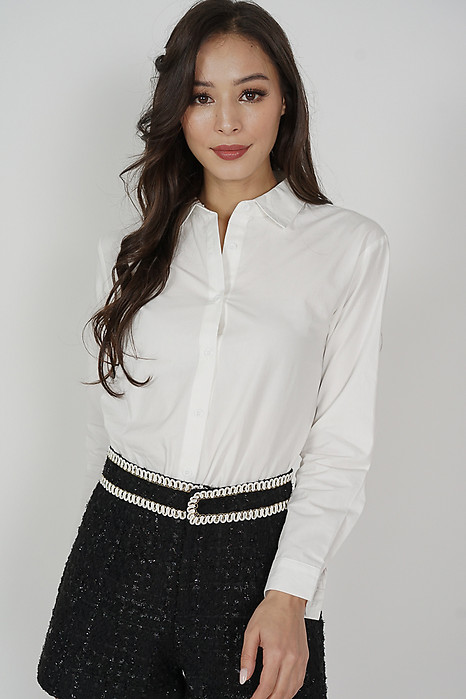 Kyura Collared Top in White - Online Exclusive