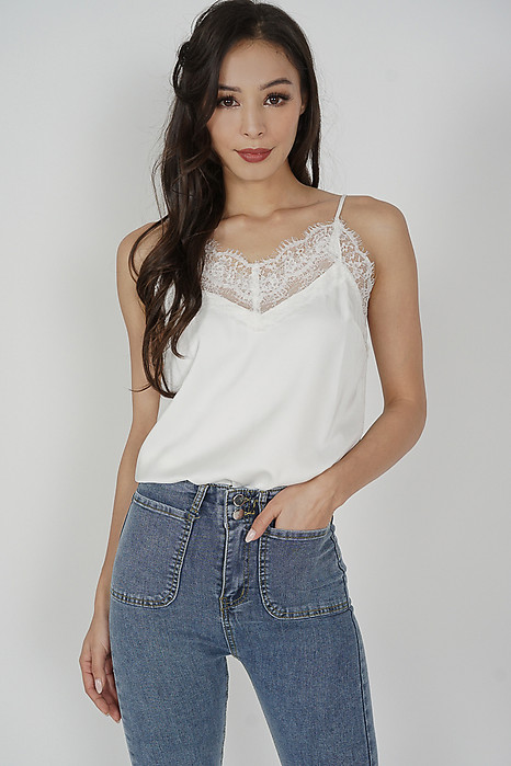 Joey Lace-Trimmed Top in White - Arriving Soon