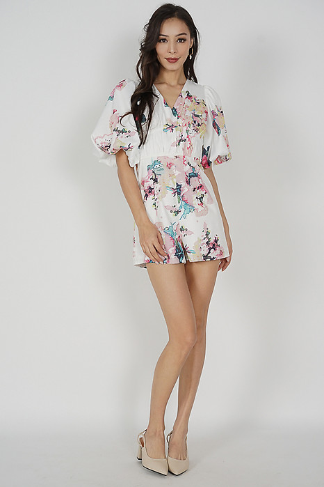 Karmine Gathered Romper in White Floral - Arriving Soon