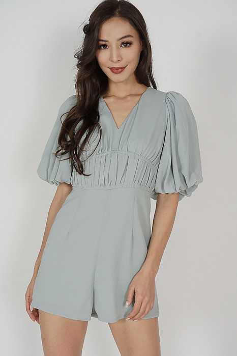 Karmine Gathered Romper in Ash Blue - Arriving Soon