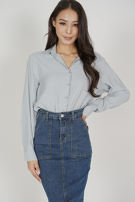 Luther Collared Top in Light Blue - Online Exclusive