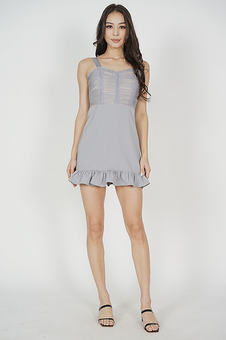Argea Ruffled-Hem Skorts Romper in Ash Blue - Arriving Soon