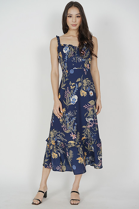 Kenley Tie Front Dress in Midnight Floral - Arriving Soon
