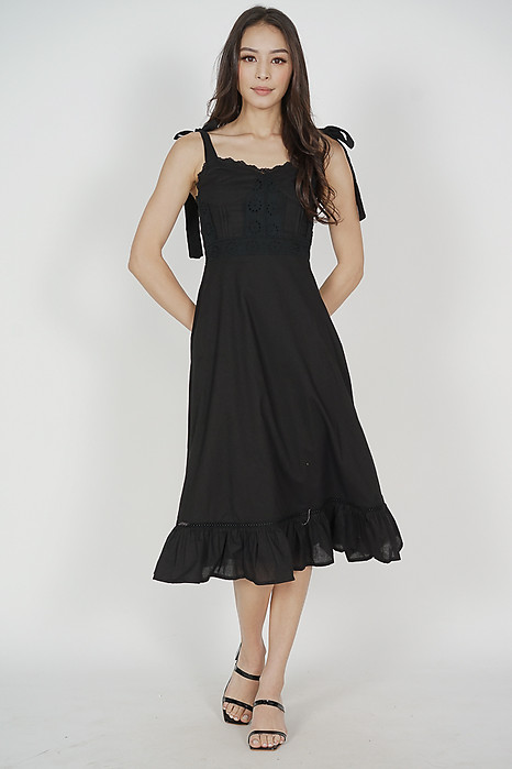 Olympia Eyelet Dress in Black - Arriving Soon
