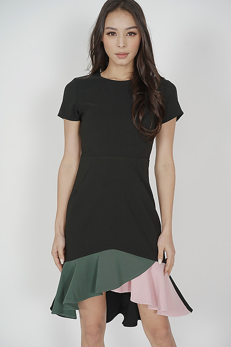 Color-Block Mermaid Dress in Black - Arriving Soon