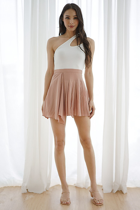 Halle Asymmetrical Skorts Romper in White Nude - Arriving Soon