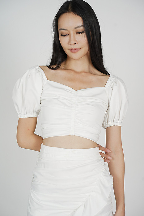 Chuza Gathered Top in White - Arriving Soon