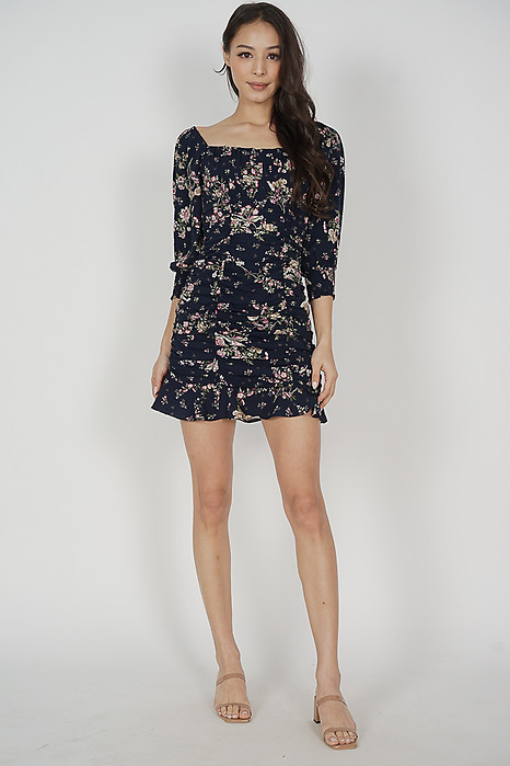 Bennia Ruched Dress in Midnight Floral - Arriving Soon