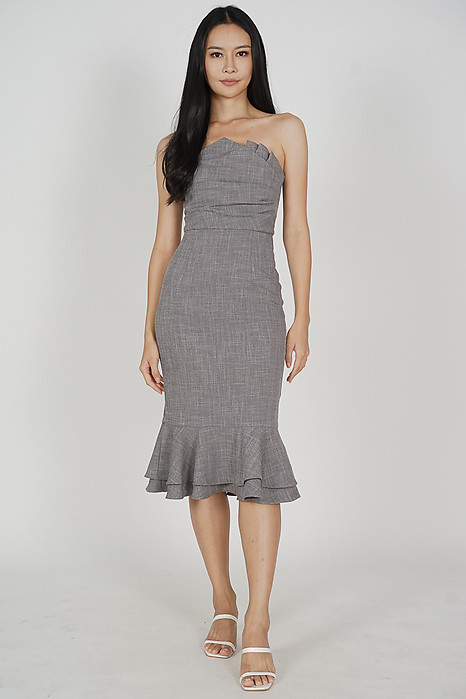 Vegh Ruffled-Hem Dress in Heather Grey - Arriving Soon