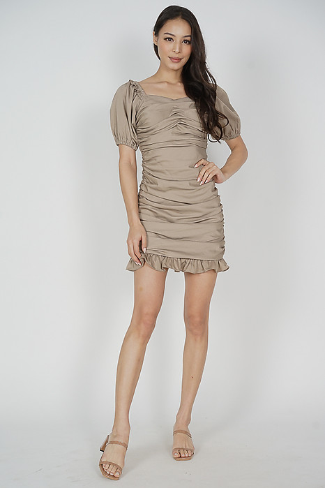 Lambi Ruched Dress in Khaki - Arriving Soon