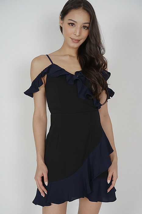 Hilda Contrast Frill Dress in Black Midnight - Arriving Soon