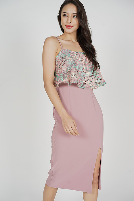 Nessa Crochet Overlay Dress in Blue Pink