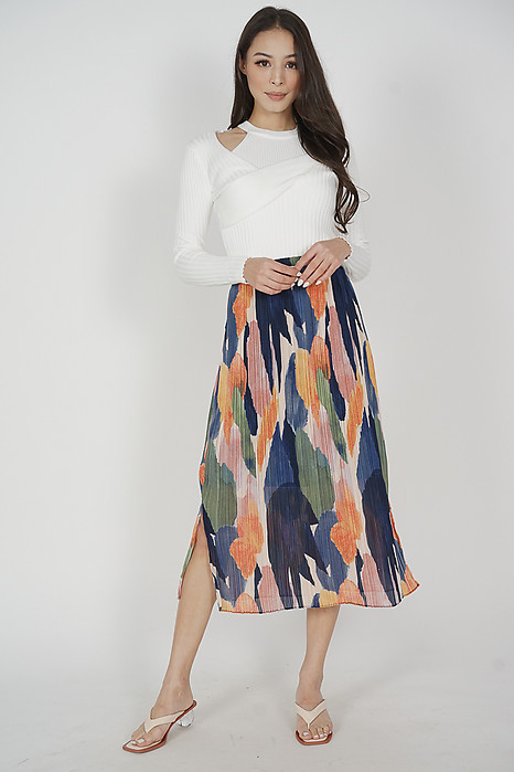 Dreana Midi Skirt in Multi Abstract - Arriving Soon
