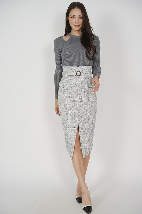 Oifa Buckled Midi Skirt in Light Grey Tweed - Arriving Soon