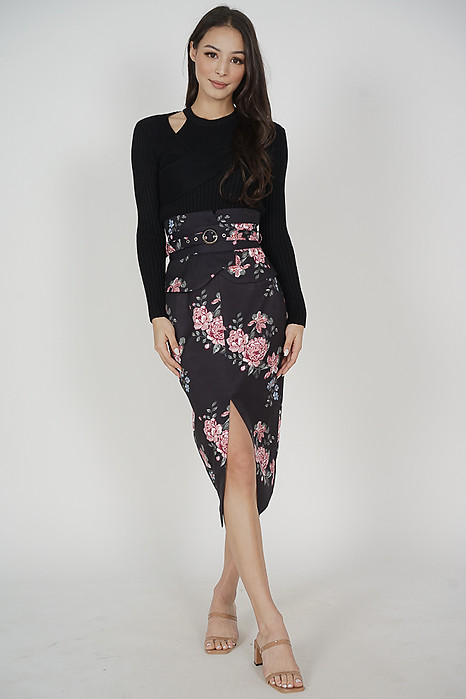 Oifa Buckled Midi Skirt in Midnight Floral - Arriving Soon