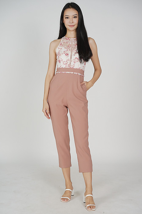 Acadia Lace Jumpsuit in Pink