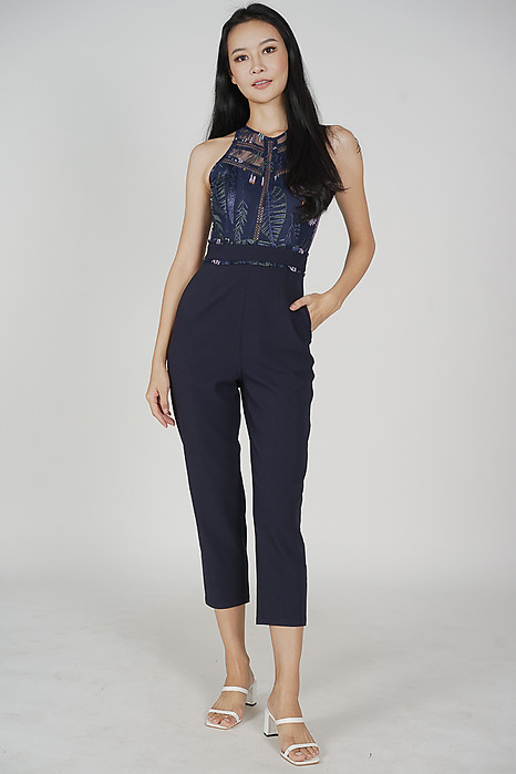 Acadia Lace Jumpsuit in Midnight