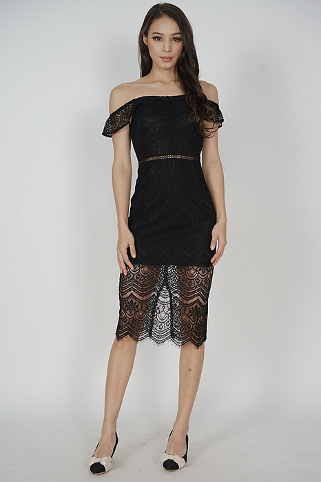Hailey Lace Dress in Black