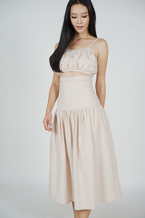 Lalin Drop-waist Skirt in Nude - Arriving Soon