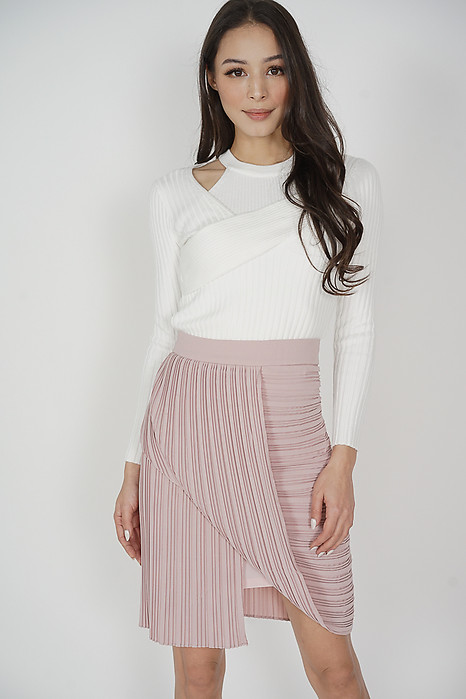 Dabun Pleated Layered Skirt in Pink