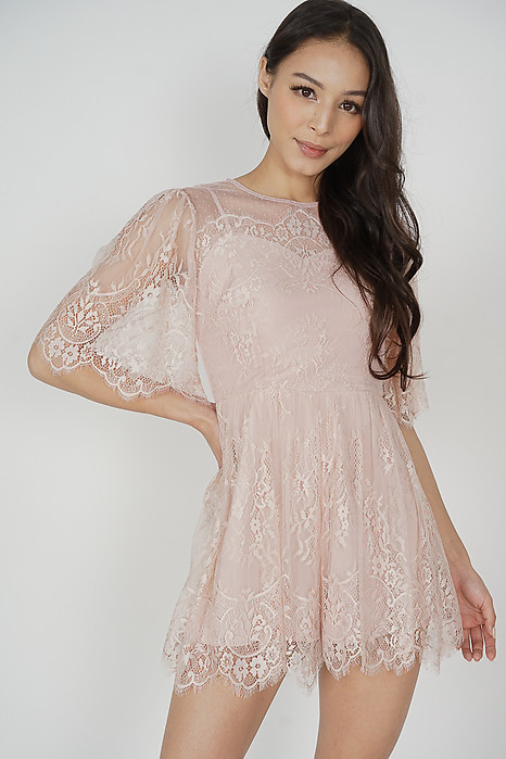 Morton Lace Romper in Pink - Arriving Soon