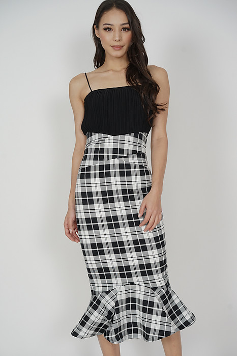 Abrie Flounce Mermaid Skirt in Gingham - Arriving Soon