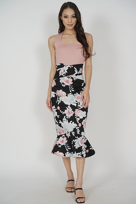 Abrie Flounce Mermaid Skirt in Black Floral - Arriving Soon