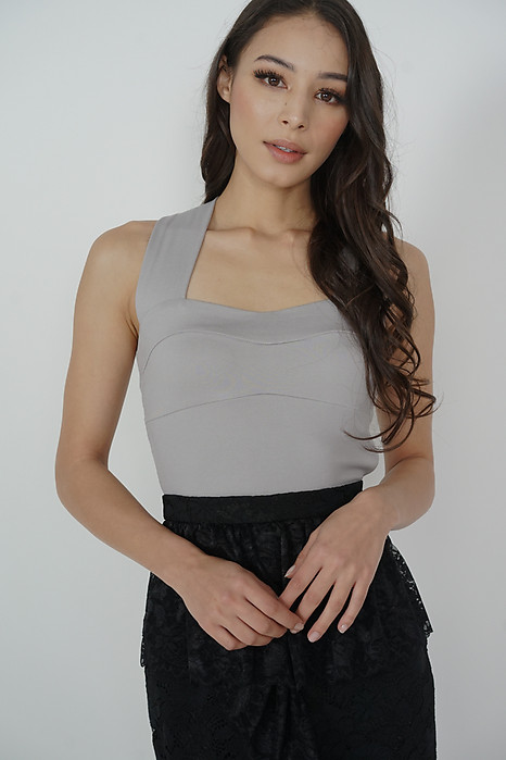 Larson Cross-Back Top in Light Grey - Arriving Soon