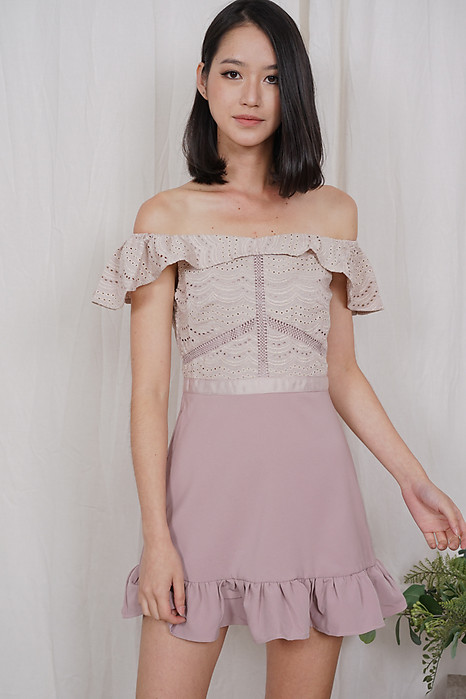 Ternia Lace Ruffled-Hem Skorts Romper in Pink - Arriving Soon