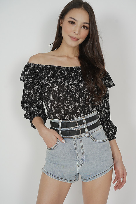 Martin Ruffled Top in Black - Arriving Soon