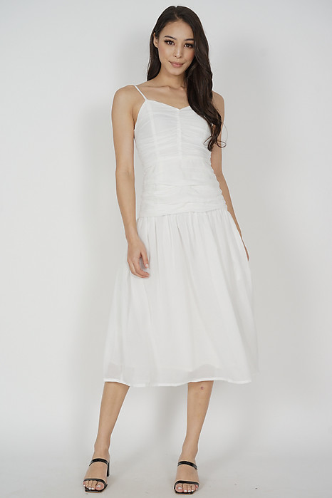 Jayleen Gathered Dress in White - Arriving Soon