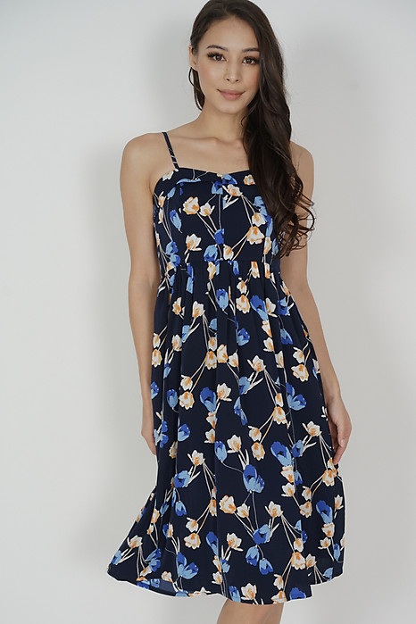 Trollius Flap Dress in Midnight Blue Floral - Arriving Soon