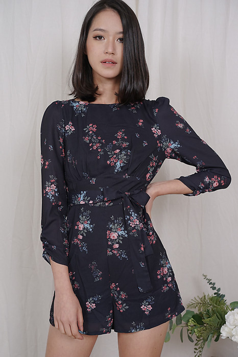 Frances Sleeved Romper in Midnight Floral - Arriving Soon