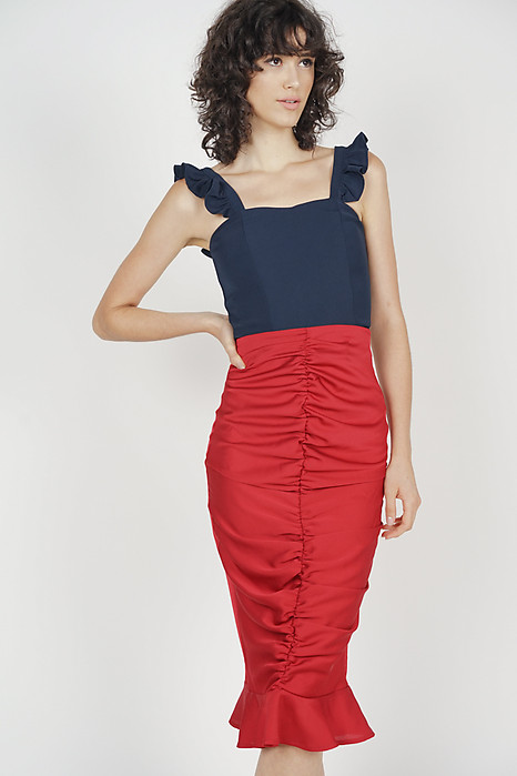 Ruched Front Skirt in Red