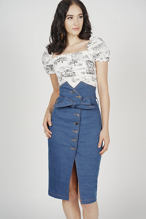 Alris Denim Skirt in Blue - Arriving Soon