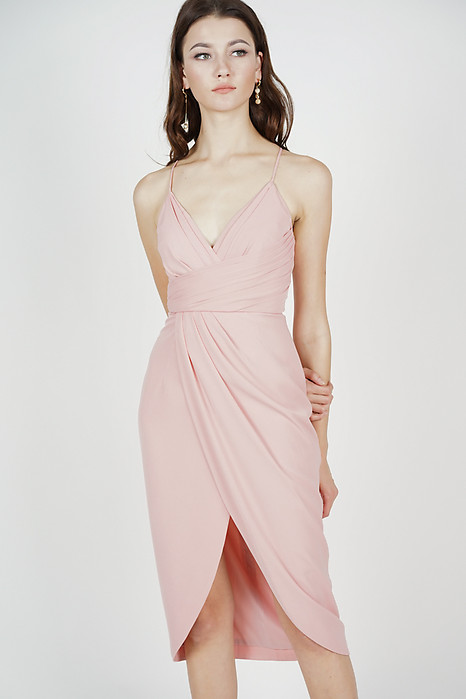 Shona Drape Dress in Pink