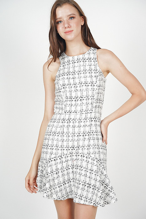 Wendolyn Tweed Dress in White