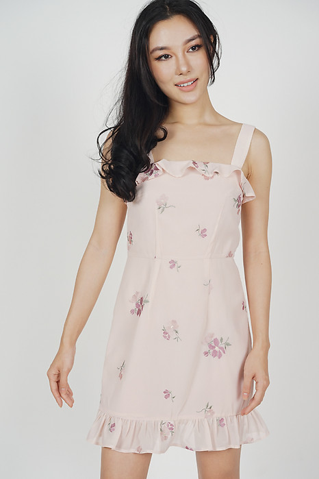 Davina Ruffled Dress in Pink Floral - Arriving Soon