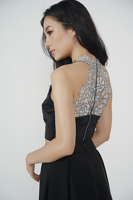Arlene Lace-Back Top in Black