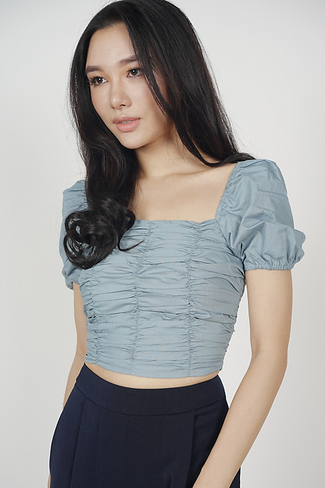 Nyxa Ruched Top in Ash Blue