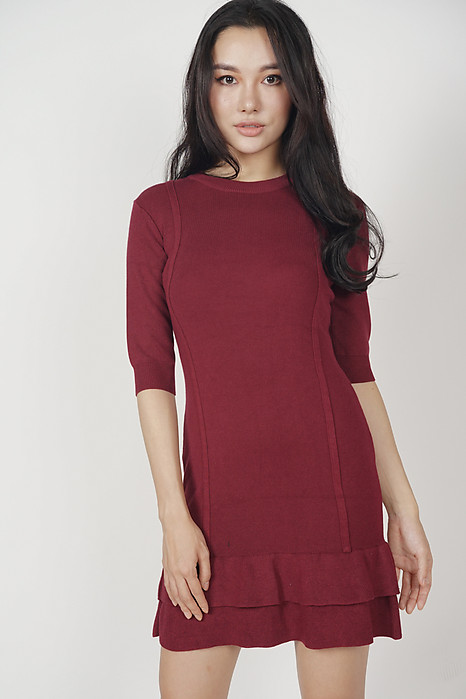 Ruffled-Hem Knit Dress in Oxblood